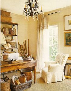 The FLIP side for My office.  Rustic shelves and table, existing chairs, fan, and drapes.  French country style work space; seagrass rug; French table; X-back bookcase