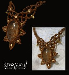 morning star micro macrame necklace with rutlized quartz center by yasmin lux