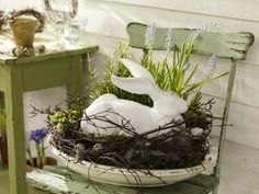 ❥ bunny nest use grapevine wreath, old silver tray and Mom's ceramic rabbit for buffet or dining table.