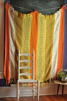 Vintage Afghan Blanket Candy Corn