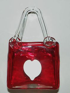 Beautiful Vtg Valentine Murano Ruby Red Glass Applied White Heart Purse Vase   eBay