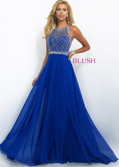 Hot Sale Beautiful Beaded Halter High Neck Sapphire Evening Dress 11053
