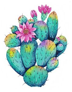 Rainbow Cactus With Flowers Art - Oirabot - Rainbow Cactus With Flowers Art – Oirabot La mejor imagen sobre healthy desserts para tu gusto Es - Cactus Drawing, Cactus Painting, Watercolor Cactus, Cactus Art, Cactus Flower, Watercolor And Ink, Flower Art, Cactus Plants, Cactus With Flowers