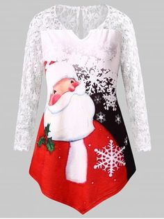 9f855c35cca9 Plus Size Santa Claus Print Lace Panel Christmas Tee,Christmas ,Happy,Rosegal.