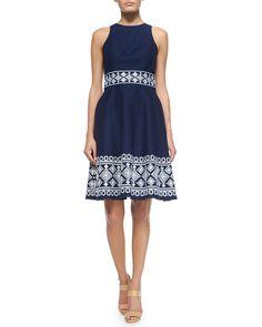 Sleeveless Embroidered Fit & Flare Dress, Ink/White - Shoshanna