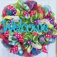 Colorful bright spring or summer deco mesh wreath