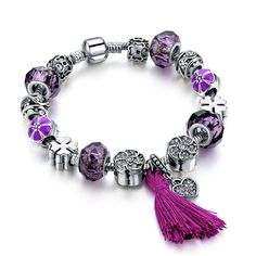 Sterling Silver Purple Tassel Charm Bracelet //Price: $22.95 & FREE Shipping // Sterling Silver Purple Tassel Charm Bracelet Wholesale prices on quality jewelry. Rebates Up to 80% OFF! Makes a perfect gift. FREE WORLDWIDE SHIPPING! Sterling Silver Purple Tassel Charm Bracelet Style: Fashion Jewelry/Luxury Bracelet Material: Silver Size: 20cm Weight:32g Wearing Occasion: Prom / Anniversary / Party/Engagement Fit for: ... 34.50, 22.95…