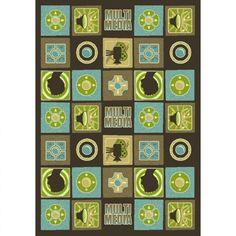 Joy Carpets Just for Kids Wired Teal Novelty Kids Rug - 1596-TEA