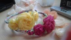 розы из ткани, цветы ручной работы, украшения, аксессуары для волос, ободок с цветами, розы,