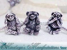 Hear See & Speak No Evil Monkey Euro Beads by MindzManifestations, $3.00