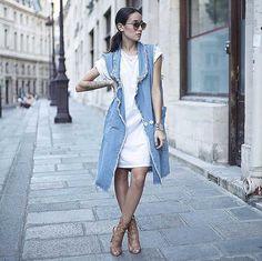T-Shirt-Dress-Long-Vest-Heeled-Sandals.jpg (790×789)