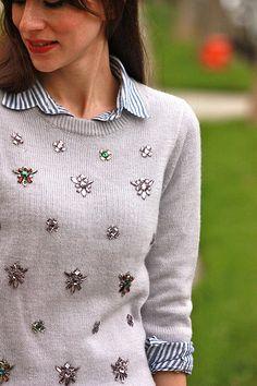 Striped shirt + jeweled sweater