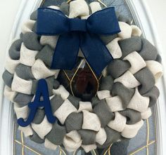 Burlap Bubble Wreath in Navy Gray Ivory by WeHaveWreaths on Etsy, $50.00