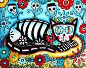 ACEO ATC Frida Kahlo Girl Art Print, Day of the Dead Halloween Giclee Art Print, Mexican Art, Cat Art, Original Art Print, 2.5 x 3.5. $4.00, via Etsy.