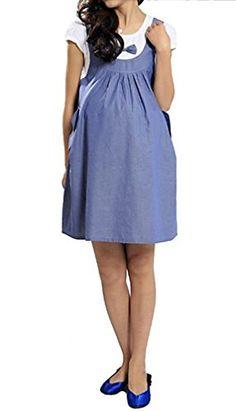 3a186303b9883 USR Womens Cap Sleeve Waistless Tie Detail Button Up Short Maternity Dress  blue 6 ManufacturerL *