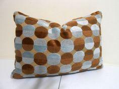 Blue Brown Velvet Lumbar Cotton Velvet  Lumbar   by ZourraDesigns, $38.00