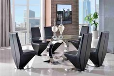 Channel Glass and Polished Stainless Steel 160 cm Dining Table with 6 Black Rita Chairs