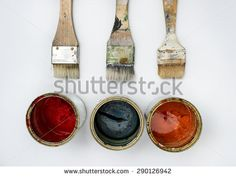 Brushes and colors - stock photo