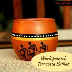 faf6f5b58f4 Unravel India Warli painted  Teracotta  Kulhad(Set of 6) Dinner Sets