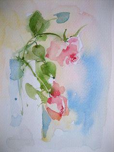 "Aquarell""Rosen"",Größe 17x24 cm"