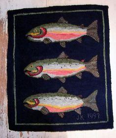 Hand Hooked Original Design Wool Rug with 3 SALMON by cookrapf (Judith Krapf Cook, WA), $395.00