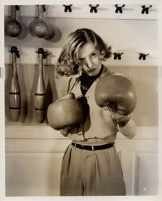 barbara stanwyk in boxing gloves!