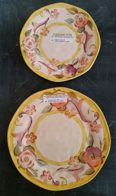 (2) Gibson Hammered Shades Violet Floral Dinner and Salad Plates Yellow Lilac  #Gibson