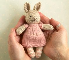 Ravelry: mini girl bunny and bear pattern by Julie Williams Toys Patterns little cotton rabbits mini girl bunny and bear pattern by Julie Williams Knitted Bunnies, Knitted Animals, Knitted Dolls, Teddy Bear Knitting Pattern, Animal Knitting Patterns, Animal Patterns, Free Knitting, Baby Knitting, Knitting Projects