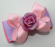 Pink hair bow Pink Purple hair bow Pink rose by Boutiqueofbeauty