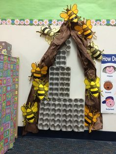 Beehive in progress... Another Pinterest inspired preschool project w/a Toni twist (my big bees-2015)!