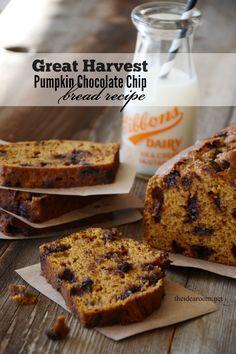 Great Harvest Pumpkin Chocolate Chip Bread | theidearoom.net
