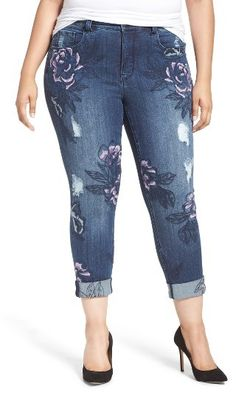 Plus Size Women's Melissa Mccarthy Seven7 Embroidered Skinny Jeans