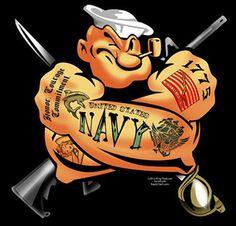 Navy - Popeye the sailor man Navy Military, Military Humor, Military Life, Marine Tattoos, Navy Tattoos, Duck Tattoos, Military Tattoos, Go Navy, Navy Mom