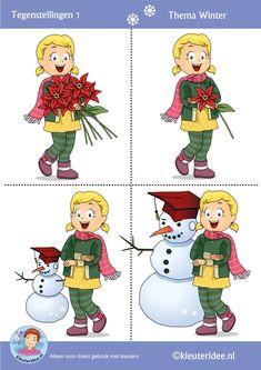 Tegenstellingen 2 voor kleuters, thema winter, kleuteridee, Preschool winter opposites, free printable!