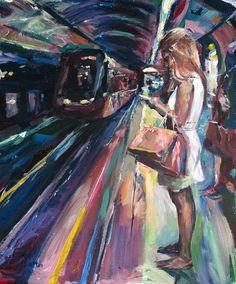 Original Painting collected artist Samuel Burton woman waiting for a tube train