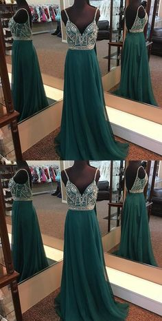 Unique A-Line Spaghetti Straps V Back Long Prom Dress With Beading P0160#promdresses #longpromdresses #2018promdresses #beadedpromdresses#2018newstyles#fashions#styles#hiprom