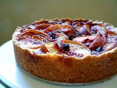 Peach Blueberry Cake  Elegant peach and blueberry cake with a rich, buttery, biscuit-like crust.