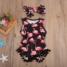 Toddler Baby Kids Girls Flamingo Romper Tassel Jumpsuit Headband Outfits US - Cute baby clothes - Baby Girl Romper, Baby Girls, Kids Girls, Toddler Girl, Baby Bodysuit, Baby Boy, Baby Onesie, Baby Dress, Pink Dress