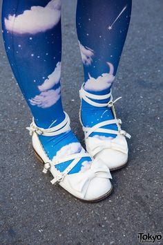 Printed stockings and Angelic Pretty baby doll shoes
