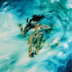 Sarah Harvey's paintings of people submerged in swimming pools evoke the first environment we ever knew, both as an individual, and as a species.
