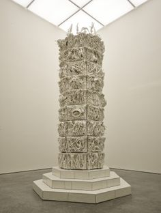 Porcelain sculpture installation titled 399 Days by London based. Gates Of Hell, Geometric Form, Ceramic Artists, Art And Architecture, Contemporary Art, Contemporary Sculpture, Cube, Porcelain, Towers
