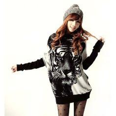 Women Tiger Printed Spliced Sleeve Cowl Neckline Knitwear Knitted Sweaters Shirt Thin(Black) by Fenheca, http://www.amazon.ca/dp/B00ET0ES78/ref=cm_sw_r_pi_dp_1eketb0Y1K20R
