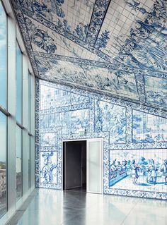 The interior of Rem Koolhaas's Casa da Música concert hall is lined with traditional azulejo tiles. (Photo: Luis Díaz Díaz) / Visit Porto and Casa da Musica (House of Music): Rem Koolhaas, Interior Architecture, Interior And Exterior, Life Is Beautiful, Beautiful Places, White Wash Walls, Ill Fly Away, Porto Portugal, Spain And Portugal