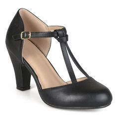 1930s Style Shoes Brinley Co. Womens Knot Round Toe T-strap Matte Mary Jane Pumps $31.99 AT vintagedancer.com