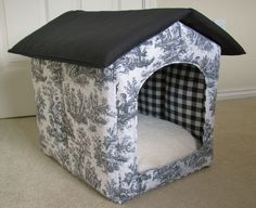 Portable foldable collapsible indoor Waverly black white toile fabric cat / dog / puppy house. $135.00, via Etsy.