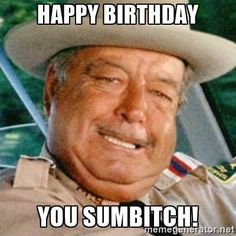 Happy Birthday You Sumbitch! - Happy Birthday Funny - Funny Birthday meme - - Happy Birthday You Sumbitch! The post Happy Birthday You Sumbitch! appeared first on Gag Dad. Trans Am, Buford T Justice Quotes, Funny Signs, Funny Jokes, Dog Jokes, Jackie Gleason, Smokey And The Bandit, Funny As Hell, Funny Shit