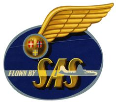 Old DIE-CUT Luggage Label SAS SCANDINAVIAN AIRLINES System 1955