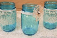mason jars with pearls and lace | Vintage Style Blue Lace and Pearl Mason Jars by ... | Dream Wedding