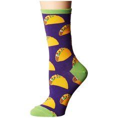 Socksmith Tacos (Purple 2) Women's Crew Cut Socks ($12) ❤ liked on Polyvore featuring intimates, hosiery, socks, cuff socks, purple socks, crew cut socks, stitch socks and pocket socks