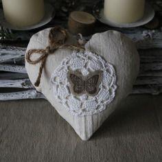 Coeur en tissu style shabby a suspendre